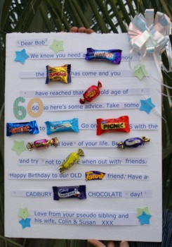 Funny Valentines  Cards  Friends on Candy Bar Card For A Friend S 60th Birthday