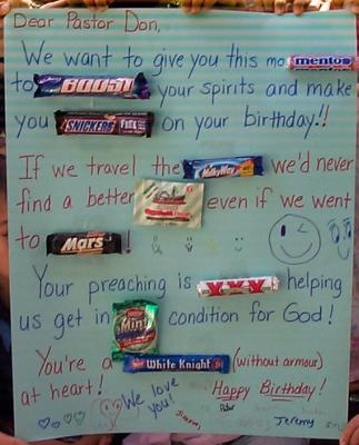 Valentine Card Messages on Candy Bar Card For Pastor Don