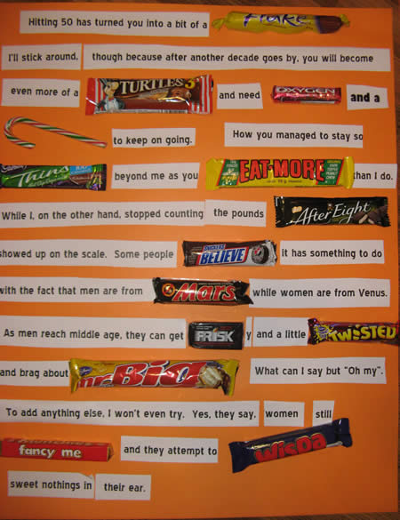 Comments for Chocolate Candy Bar Card for Husband's 50th Birthday