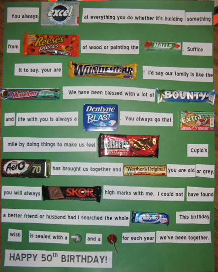50th Birthday Candy Bar Card