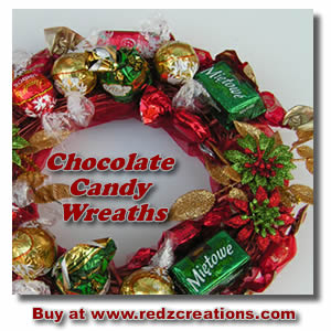 buy or make chocolate candy wreaths