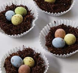 Chocolate Easter Egg Nests and Baby Chick Cupcakes | RESCU
