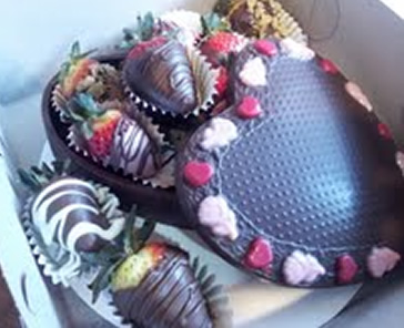 Chocolate Heart Boxes Filled With Strawberries