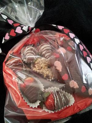 Packaged Chocolate Heart and Strawberries