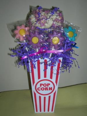 Chocolate Molded Flowers in Popcorn Container