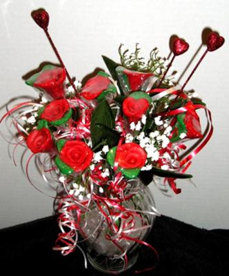 Bouquet of Nine Red Hand-Crafted Chocolate Roses