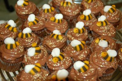 Chocolate Raspberry Cupcakes with Sugar Bees