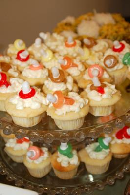Lemon Drop Cupcakes with Candy Binky (pacifier)