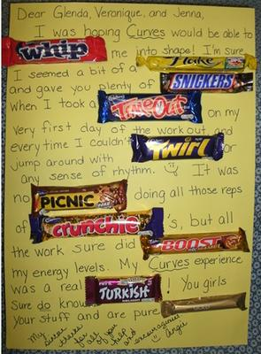 Homemade Thank You Card Made With Candy Bars