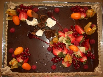 Elegant Chocolate Cake With Fruit Decorations