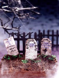 Halloween recipe for tombstone brownies