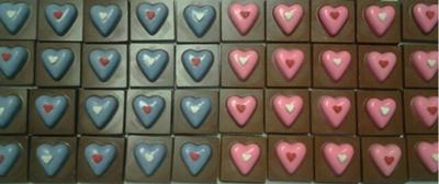 Pink And Blue Chocolate Hearts