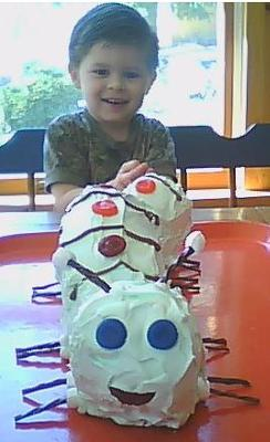 Christian and his Caterpillar Cake