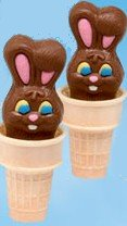 Easter crafts kids chocolate bunny in ice cream cone