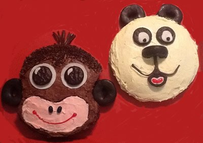 Panda Bear and Monkey Cake