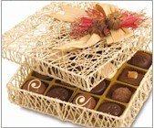 chocolate candy gift in wicker box