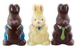 three decorated Easter bunnies from chocolate candy molds